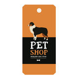 Poster Pet Shop Design label Vector Illustration Australian Shepherd Royalty Free Stock Photos