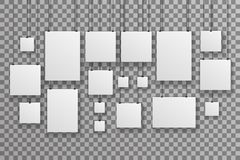 Poster Photo Picture Gallery Hang Rope Paper Big Little Realistic Icon Set Template Transparent Wall Background Mock Up Stock Image