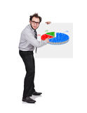 Poster with pie chart. Crazy businessman holding poster with pie chart Royalty Free Stock Photos