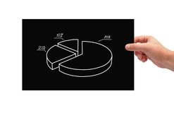 Poster with pie chart. Hand holding black poster with pie chart Stock Photo
