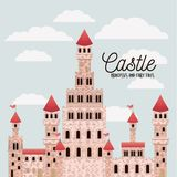 Poster of pink castle princesses and fairy tales with castle and colorful sky background. Vector illustration Stock Image