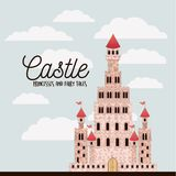 Poster of pink castle princesses and fairy tales with castle and colorful sky background. Vector illustration Stock Photos