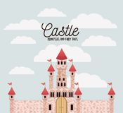 Poster of pink castle princesses and fairy tales with castle and colorful sky background. Vector illustration Stock Photo