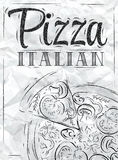 Poster pizza Italian. Coal. Poster with pizza and a slice of pizza with the inscription Italian pizza stylized drawing with coal on the blackboard Stock Images