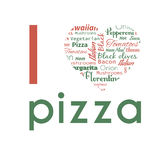 Poster with pizza tags. Royalty Free Stock Photo