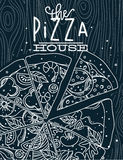 Poster pizza wood blue Royalty Free Stock Images