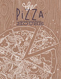 Poster pizza wood brown Stock Images