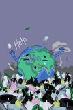 A poster with the planet Earth among the trash. Inscription help. Vector image stock illustration