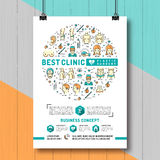 Poster Plastic Surgery. Colorful thin line symbols Medicine and Health Royalty Free Stock Image