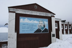 The poster with the poem in Barentsburg, Svalbard. Royalty Free Stock Images