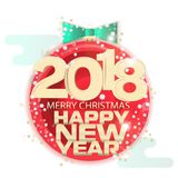 Poster or postcard New Year theme. Written on the banner. Happy New Year, Merry Christmas. Icon with a picture of a yellow Christmas glass ball Royalty Free Stock Photography