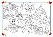 Poster preto e branco do Natal ilustração do vetor