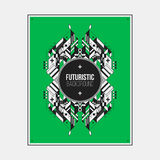 Poster/print template with symmetric abstract element on colorful background Stock Photo