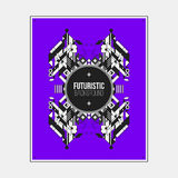 Poster/print template with symmetric abstract element on colorful background Royalty Free Stock Photos