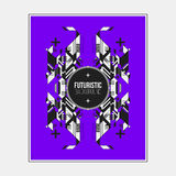 Poster/print template with symmetric abstract element on colorful background. Poster/print design template with symmetric abstract element on colorful background Stock Images