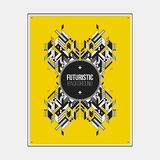 Poster/print template with symmetric abstract element on colorful background Royalty Free Stock Photography