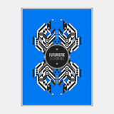 Poster/print template with symmetric abstract element on colorful background Stock Image