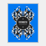Poster/print template with symmetric abstract element on colorful background Stock Photography