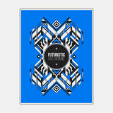 Poster/print template with symmetric abstract element on colorful background Stock Images