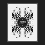 Poster/print template with symmetric abstract element Royalty Free Stock Image