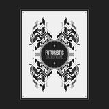 Poster/print template with symmetric abstract element Stock Image