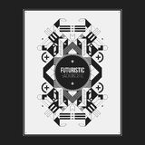 Poster/print template with symmetric abstract element Stock Photo