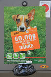 Poster promoting collection of dog's excriments by owners outdoor Stock Images