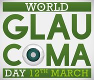 Design for World Glaucoma Day Promoting Awareness with Sick Eye, Vector Illustration. Poster promoting World Glaucoma Day in 12th March with green design and a Stock Photography