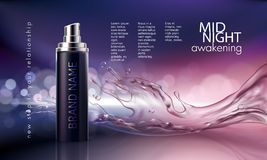 Poster for the promotion of cosmetic moisturizing and nourishing premium product. Vector 3D illustration for the promotion of cosmetic moisturizing and Stock Photography