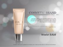 Poster for the promotion of cosmetic moisturizing premium product. Vector 3D illustration for the promotion of cosmetic moisturizing premium product. Cosmetics Stock Photo