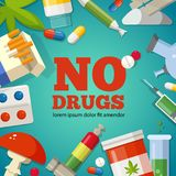 Poster with promotion of the health. Pharmaceutical pictures. No drugs Royalty Free Stock Image