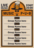 Poster for the pub with live music Royalty Free Stock Photos