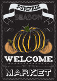 Poster with a pumpkin theme on the market Royalty Free Stock Photos
