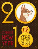 Puppy for Chinese New Year of the Dog in 2018, Vector Illustration Stock Images