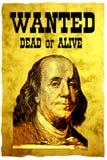 Poster QUERIDO conceptual. A cabeça dos EUA 100 dólares de presidente Franklin da conta Imagem de Stock