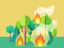 Poster Depicting Raging Forest Fire. Poster of raging wildfire. Vector illustration of forest burning fiercely with bushes, trees aflame and a lot of smoke Stock Images