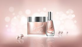 Poster with transparent glass cosmetic containers for lotion, hand cream and cuticle remover, nail polish. Poster in realistic style with transparent glass royalty free illustration