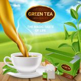 Realistic Tea Leaves Poster. Poster with realistic tea leaves and cup with drink, packaging and teabag on wooden table vector illustration Stock Image
