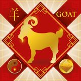 Charm with Chinese Zodiac Goat, Earth Element and Yin Symbol, Vector Illustration. Poster with red charm and ribbons with golden silhouette of Chinese zodiac Royalty Free Stock Image