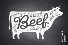 Poster with red cow silhouette. Lettering Royalty Free Stock Photos