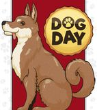 Oriental Breed Dog Posing for Dog Day Celebration, Vector Illustration Royalty Free Stock Photo