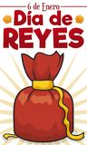 Red Gift Bag like Present to Celebrate Dia de Reyes, Vector Illustration Stock Photography
