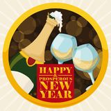 Round Button with Champagne and Wineglasses for New Year Celebration, Vector Illustration Royalty Free Stock Image