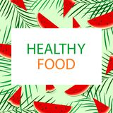 Poster with watermelon. Healthy lifestyle. Vector illustration Royalty Free Stock Photography