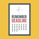 Poster remember deadline. Clock and calendar for office decoration. Trendy vector illustration concept in flat style for web design banners and print Royalty Free Stock Images