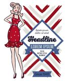 Poster in retro american style. 1950s styled doodle woman, can be used as retro party invitation or as flyer for beauty salon, vector illustration stock illustration