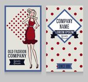 Poster in retro american style with 1950s styled doodle woman. Poster in retro american style, 1950s styled doodle woman, can be used as retro party invitation royalty free illustration