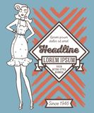 Poster in retro american style with 1950s styled doodle woman. Poster in retro american style, 1950s styled doodle woman, can be used as retro party invitation vector illustration
