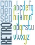Poster retro bright condensed font, striped compact lowercase le Stock Image