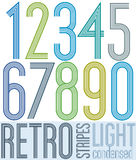 Poster retro condensed colorful light numbers with stripes on wh Royalty Free Stock Photos